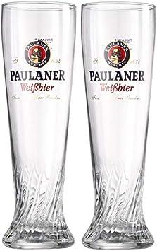 Paulaner Brewery Wheat Weißbier Signature - Juego de 2 vasos de cristal en espiral (0,5 L)