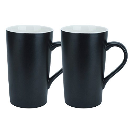 (YINUOWEI Simple Pure White Large Ceramic Coffee Milk Cup Porcelain Mugs, 16oz, Black)