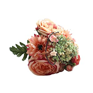 Party Home Decor Artificial Silk Fake Flowers Leaf Rose Floral Wedding Bouquet 68