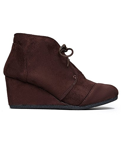 omens Suede Wedges Lace up Bootie (7, Brown) ()