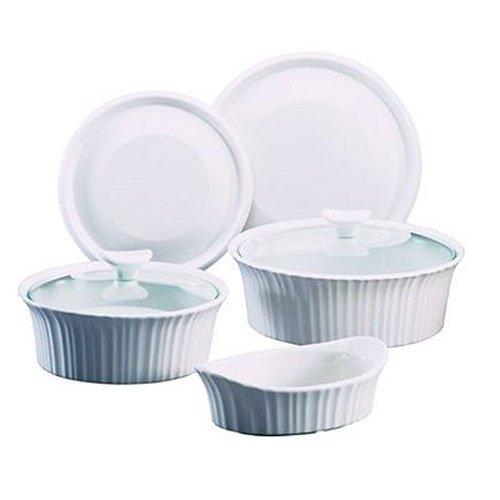 World Kitchen CorningWare 1108170 7-Piece Bakeware Set, French White
