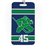 Hockey Luggage & Bag Tag | Personalized Number Hockey Goalie | Standard Lines on Back | LARGE | NAVY/GREEN