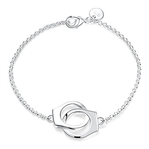 HongBoom Jewelry Fashion Women's 925 Sterling Silver Plated Handcuffs Link Charm Bracelet