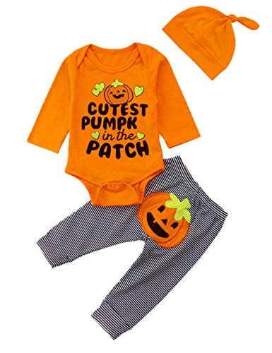 Halloween Newborn Infant Baby Boy Girl Outfits Long Sleeve Romper,Pumpkin Pant+ Cute Hat 3Pcs Clothes Set(9-12 Months) Yellow (Cutest Baby Clothes)