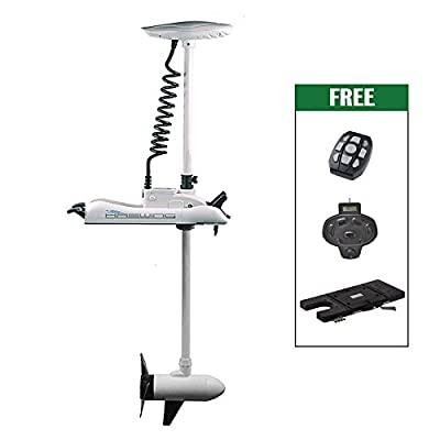 """Haswing Cayman 24v 80lbs Bow Mount Electric Trolling Motor White 60"""" Shaft with foot control&Quick Release Brakcet"""