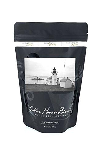 - Alki Point Lighthouse - Photograph (8oz Whole Bean Small Batch Artisan Coffee - Bold & Strong Medium Dark Roast w/ Artwork)