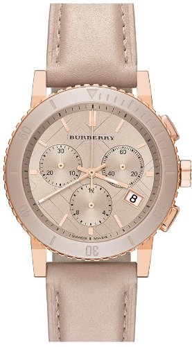 Burberry Chronograph Rose Dial Rose gold-tone Unisex Watch - Burberry Pink Rose