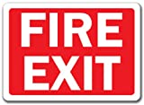 """Fire Exit Sign (White Text On Red Background) - 10"""" X 14"""" OSHA Safety Sign"""