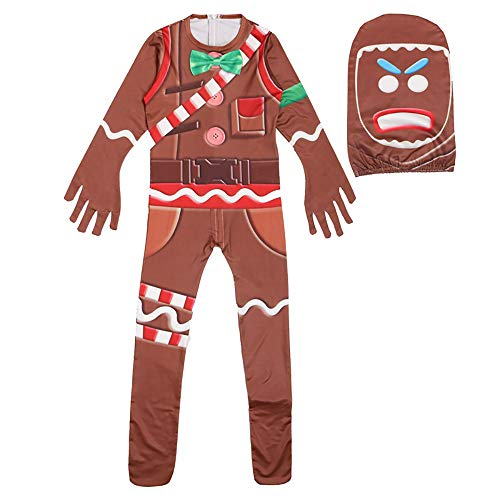 Children's Gingerbread Jumpsuit Costume Party Christmas Cosplay Costume with Mask(XL) -