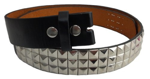 JTC Belt Faux Leather Belt for buckles Studs Studded. Black Belt Chrome (Stud Studded Black Belt)