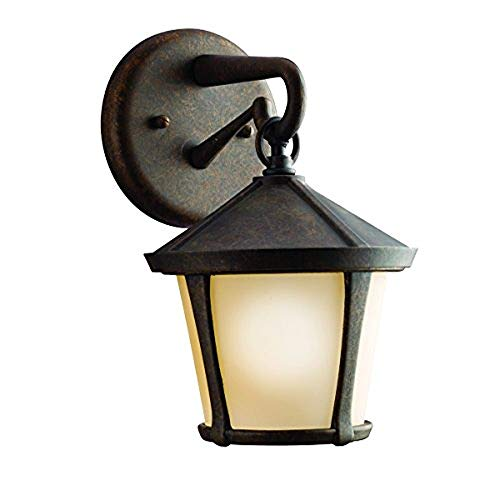 Kichler   9051AGZ Melbern 1-Light Outdoor Wall Lantern, Aged Bronze with Light Umber-Etched Glass