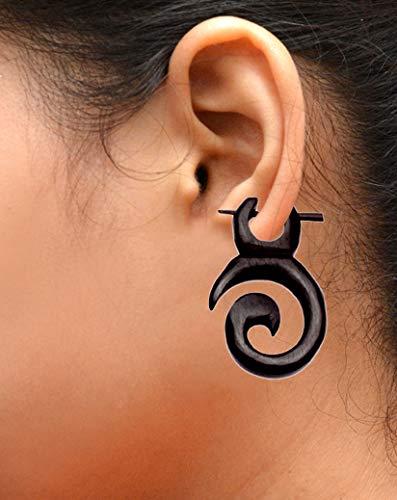 (Krishna Mart India Tribal Organic Wooden Earrings Fake Gauges Sold As Pair Bohemian Jewelry Sew_97)