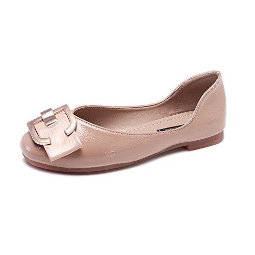Xue Qiqi Soja Zapatos Zapatos único Salvaje Que los Zapatos con un Partido de Base Plana para la Gente Perezosa Zapatos Zapatos Boca Superficial Abuela Beige