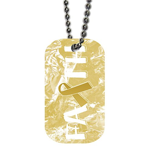 BleuReign(TM) Childhood Cancer Awareness Faith Ribbon Single Sided Metal Military ID Dog Tag with Beaded Chain ()