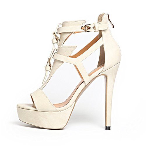 MiNi Women's High Heeled Stiletto T- Strap Zip Peep-toe Metal Buckle Zip Platform Sandals (4,rice white) (T-strap Mini Platform)