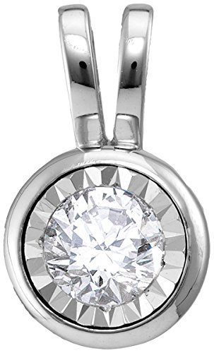 14kt White Gold Womens Round Diamond Solitaire Pendant 1/2 Cttw (Solitaire Pendants 14kt Bezel Diamond)