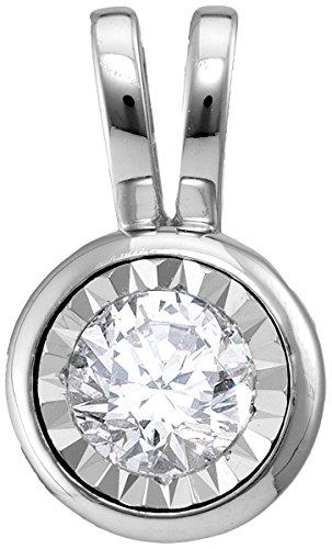 14kt White Gold Womens Round Diamond Solitaire Pendant 1/2 Cttw (I1-I2 clarity; H-I color) (Pendants 14kt Diamond Bezel Solitaire)