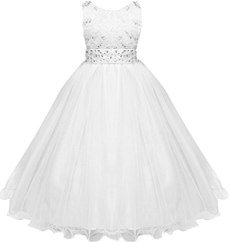Shiny Toddler Little Girls Sequins Laces With Glitters Wedding Flower Long Dress White 4-5 4 Flower Girl