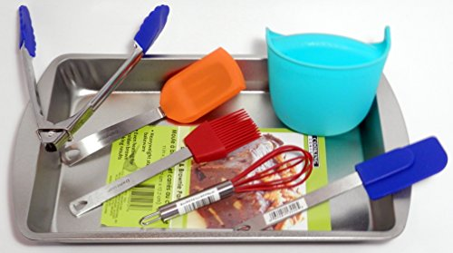 Kitchen Mini Cooking Utensils with Silicone Grabber and Bonus Brownie Pan - Bundle Pack!!! for Kids and Adults - Clean Odor Grabber