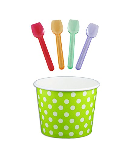 Green Ice Cream - Black Cat Avenue Paper Ice Cream Cups with Spoons Combo, Polka Dot, Green, 12 Ounce, 50 Pack