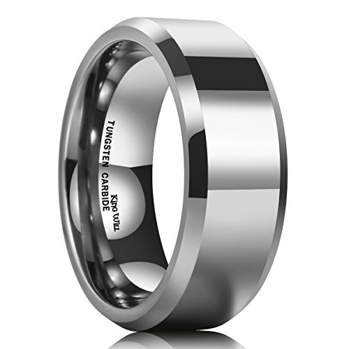 King Will BASIC Men's 8mm Tungsten Carbide Ring Polished Plain Comfort Fit Wedding Engagement Band - Tungsten Polished Ring Carbide