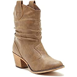 Charles Albert Women's Modern Western Cowboy Distressed Boot with Pull-Up Tabs in Mocha Size: 7