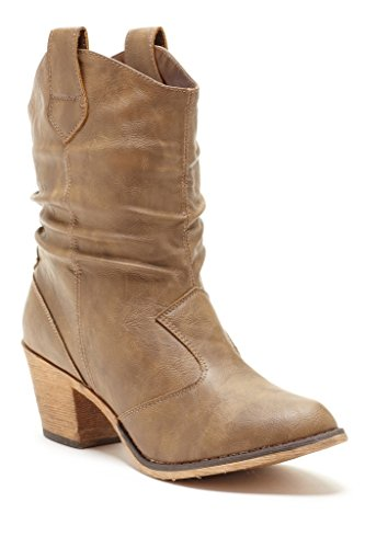 Charles Albert Women's Modern Western Cowboy Distressed Boot With Pull-Up Tabs In Mocha Size: 8 (Ankle Cowboy Boots)