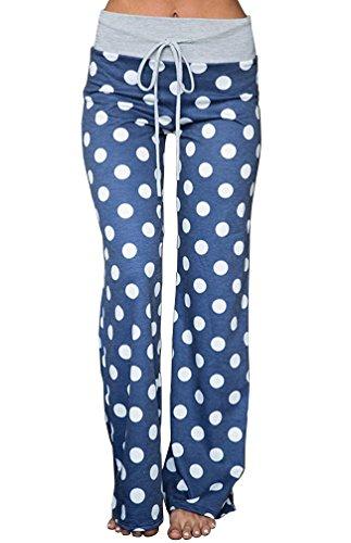 (AMiERY Women's Casual Palazzo Pant Polka Dot Comfy Loose Wide Leg Lounge Pajama Bottom Pants (L, Blue))