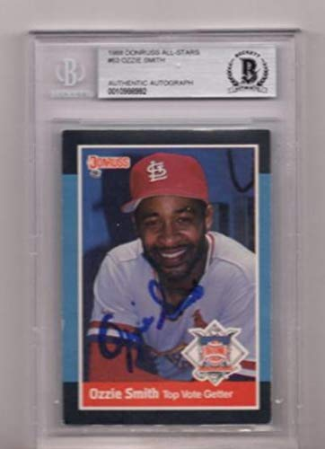 RS OZZIE SMITH SIGNED CARD BECKETT AUTHENTIC AUTOGRAPH ()
