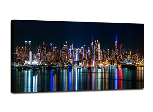 - youkuart Canvas Wall Art - New York City Manhattan Skyline Panorama at Night - Modern Home Decor Stretched and Framed Ready to Hang