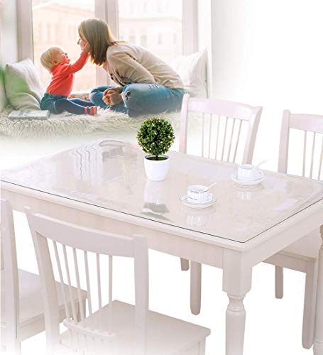 Clear Plastic Dining Table Protector Tablelcloth Desk Pad Mat Wooden Furniture Coffee Glass End Side Table Cloth Table Top Protection Countertop Cover Waterproof Rectangular PVC Vinyl 30 x 30 Inches