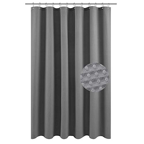Barossa Design Extra Long Fabric Waffle Weave Shower Curtain 84 inch Height, Hotel Collection, 230 GSM Heavy Duty, Water Repellent, Machine Washable, Gray Pique Pattern, 71x84 (Grey Shower Curtain Long)
