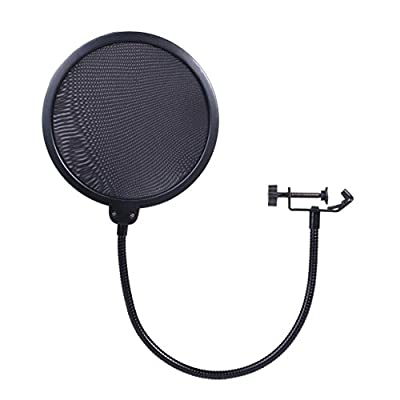iksee Studio Arm Microphone Stand, Microphone Boom Arm Desk Stand with Foam Mic Cover and Threaded Screw for Blue Yeti Snowball and More Microphones