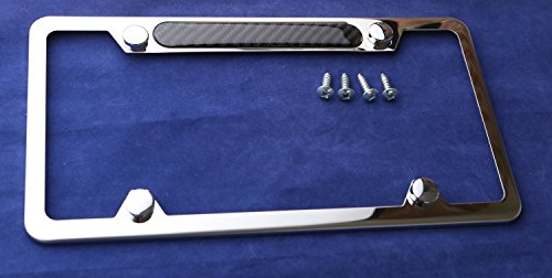 Stainless Steel Polished Mirror License Plate Frame Carbon Fiber Domed ()