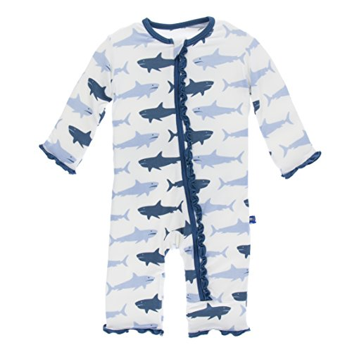 Girls Print Muffin Ruffle Coverall with Zipper - Natural Megalodon, 12-18 Months (16 Muffins)