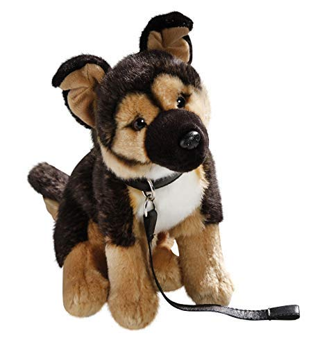 Carl Dick German Shepherd Dog with Lead 10 inches, 25cm, Plush Toy, Soft Toy, Stuffed Animal 3395