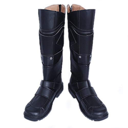 Logan Costume Cosplay Black PU Leather Knee-high Boots Shoes Male US11 by Hotwinds