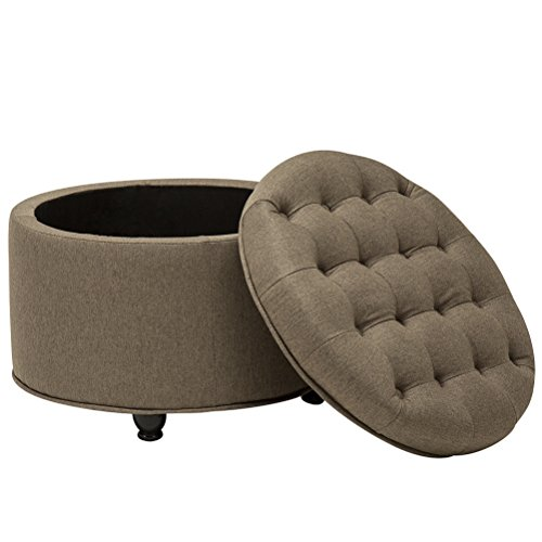 Round Ottoman Button-Tufted Storage Ottomans Bench with Coffee Table Large Footrest Stool for Livingroom Brown