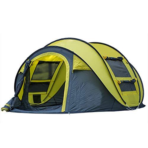 拒絶間接的袋自動テントのシングルレイヤー3-4人の高容量軽量防水UV高速オープニング課金キャンプアウトドア用品,Yellow