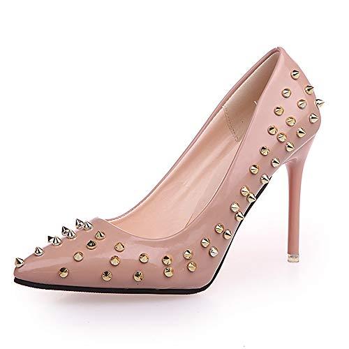 Jqdyl Zapatos nuevos de Las Mujeres Acentuados Remaches Brillantes Lentejuelas Zapatos de Tacones Altos