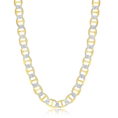 925 Sterling Silver Italian Gold Plated Pave 8mm Flat Marina 180 Gauge 9'', 22'', 24'' Chain Necklace ()