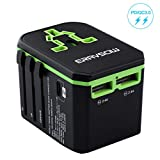 Universal Travel Power Adapter, ERAVSOW International worldwide ALL In One Wall Charger, USB C PD/QC3.0 quick charging For Cell Phone Tablet Laptop US,UK,EU,AUS
