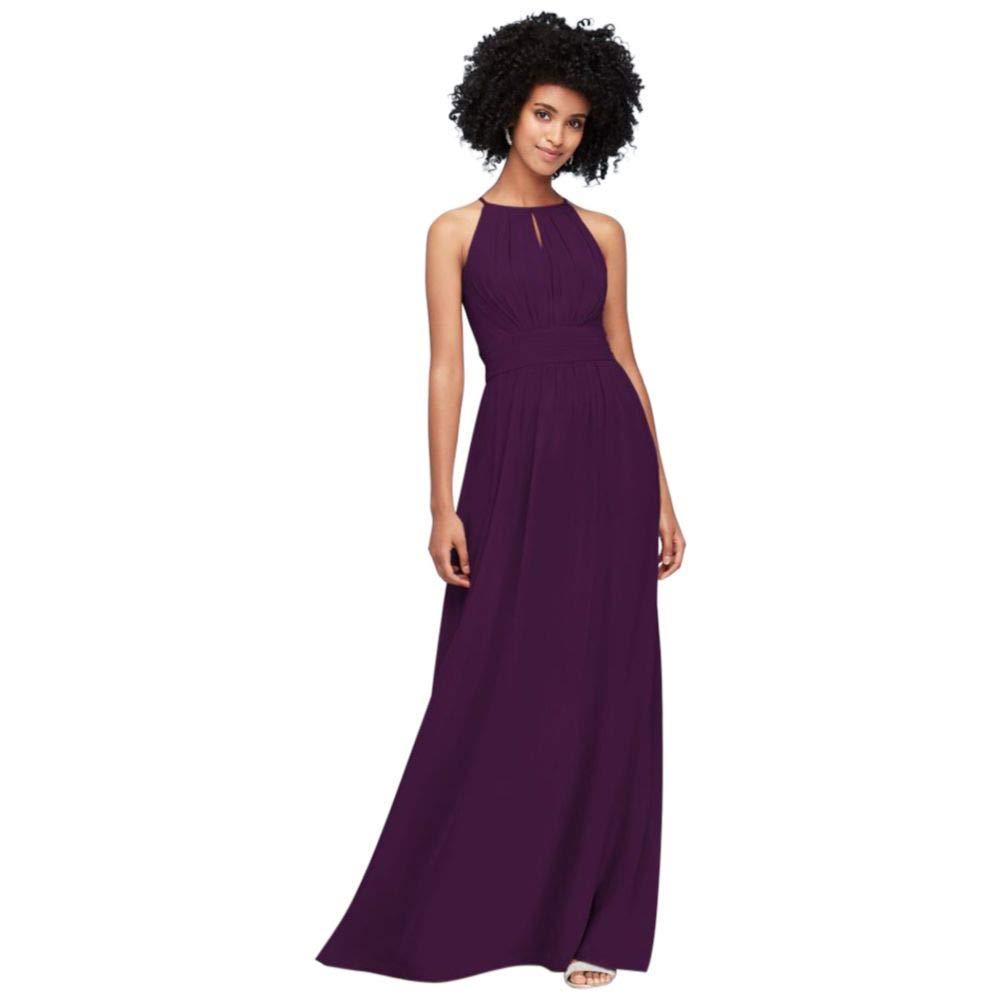 3c64b16cf56 David s Bridal High-Neck Chiffon Bridesmaid Dress with Keyhole Style F19953  at Amazon Women s Clothing store