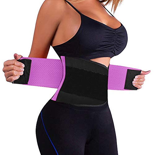 ZOUYUE Women's Waist Trainer Belt, Back Brace for Lower Back Pain, Waist Trimmer for Weight Loss, Slimming Body Shaper Belt (Purple,Medium) ()