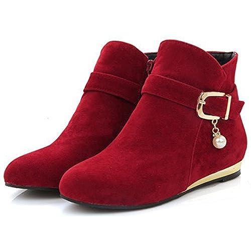 Women's Sweet Strappy Buckle Round Toe Booties Wedge Low Heel Side Zipper Ankle Boots