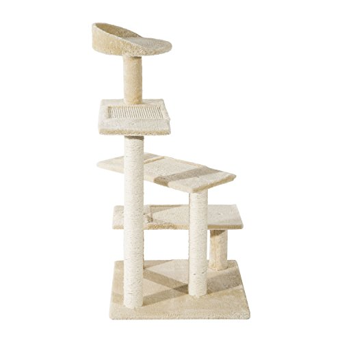 PawHut 40'' Multi-Platform Scratching Post Cat Tree Beige by PawHut
