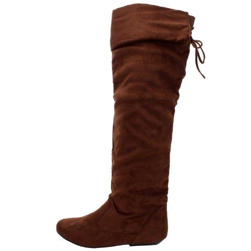 FOREVER LINK TAMMY-58 Damen Hot Fashion Stilvolle Kniehohe Casual Stiefel Braunes Wildleder