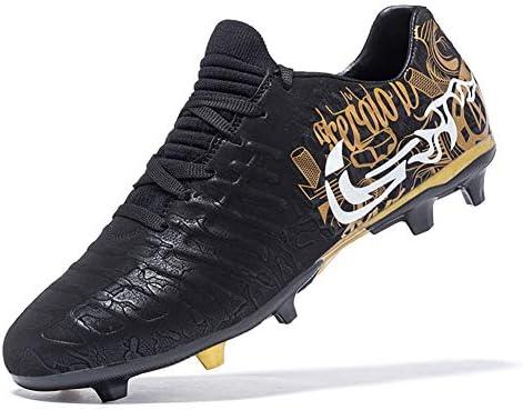 メンズサッカーブーツ、サッカークリートシューズTFロングスパイクスニーカー快適な通気性の屋内芝フットサルフットボールの靴,黒,42
