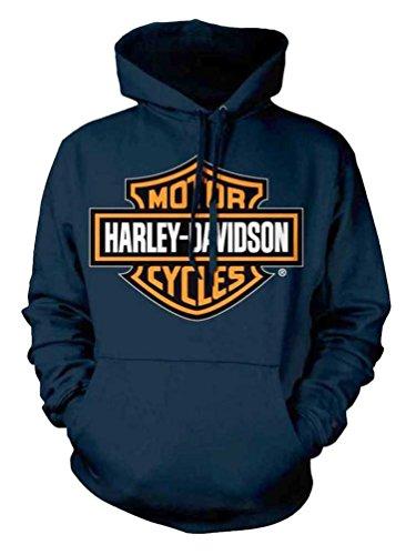 (Harley-Davidson Mens Orange Bar & Shield Navy Pullover Sweatshirt 30291742 (2XL))