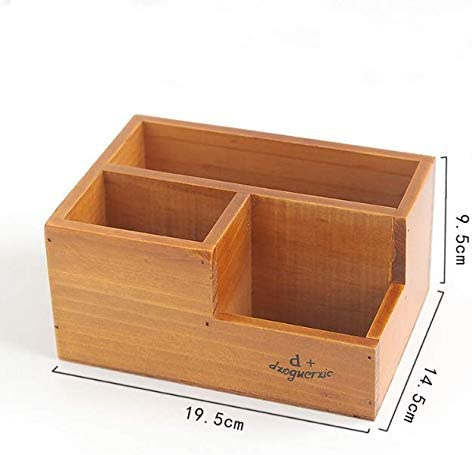 Dressing Table or Coffee Table Nightstand Multipurpose Stationery Box Compartments Pen and Pencil Organizer for Desk End Table Lugoo Wooden Desktop Remote Control Storage Holder Caddy